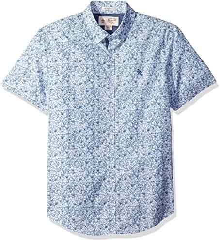 Original Penguin Men's Short Sleeve Gingham Floral Printed Shirt
