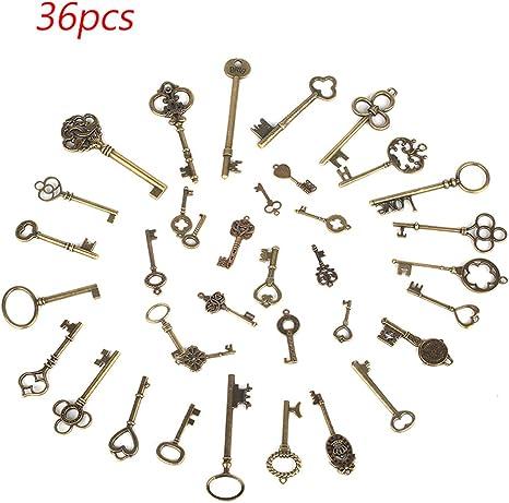 Set of 69 Antique Vintage Old Look Bronze Skeleton Keys Fancy Heart Bow Pendant