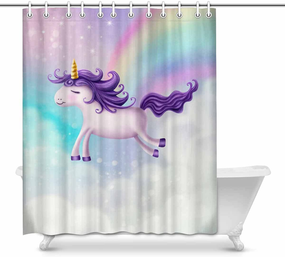 Amazon.com: INTERESTPRINT Cute Little Unicorn Shower Curtain