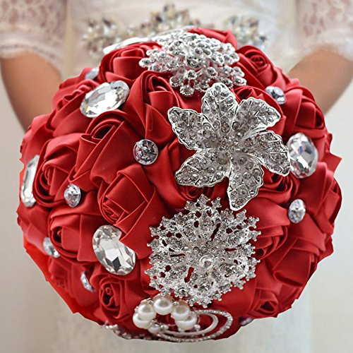 Ziye Shop Luxury Handmade Romantic Wedding Bride Holding Bouquet Silk Roses with Diamond Pearl Ribbon Valentine's Day Bouquet Confession (Red)