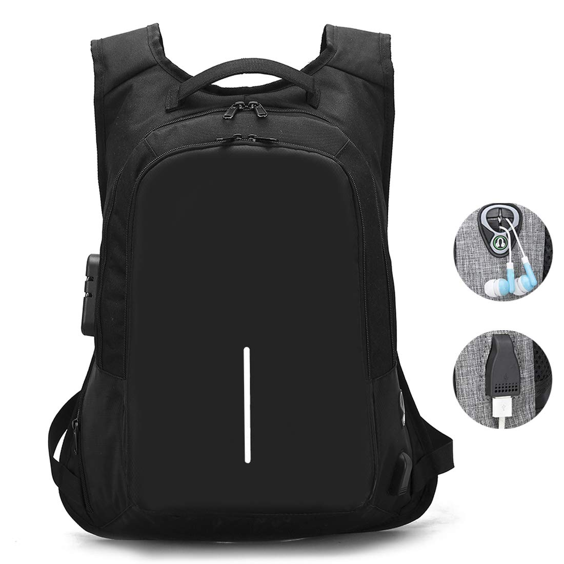 Travel Laptop Backpack, Business Anti Theft Laptop Backpacks with USB Charging Port and Headphone Interface,Water Resistant College School Computer Bag for Women & Men Fits 15.6 Inch Laptop (Black-1)
