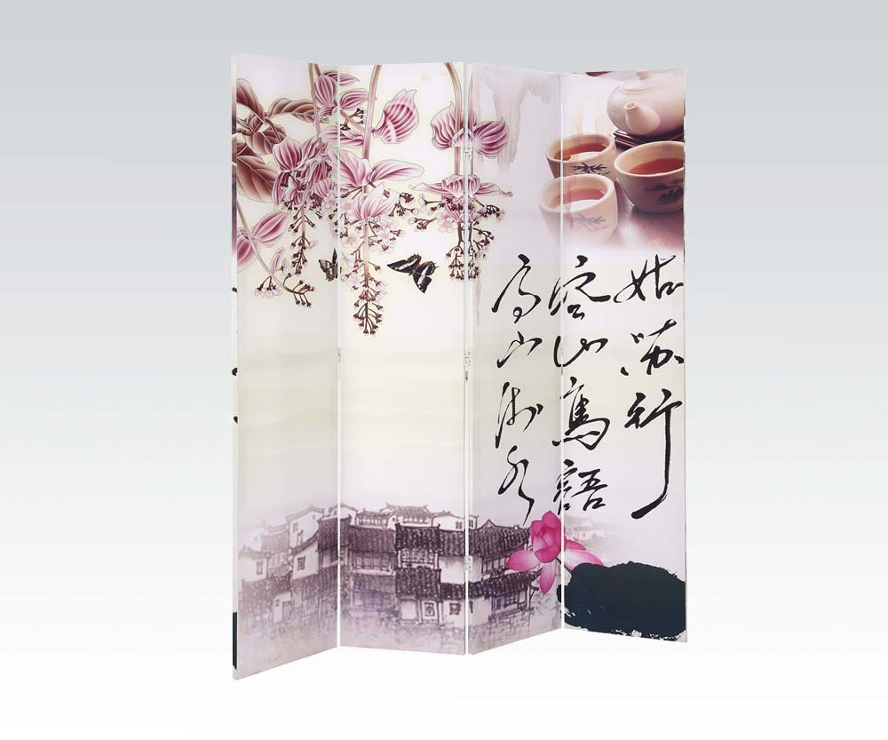 Brand New Trudy (16''x4) x71''H Scenery Design 4-panels Wooden Screen Room Divider