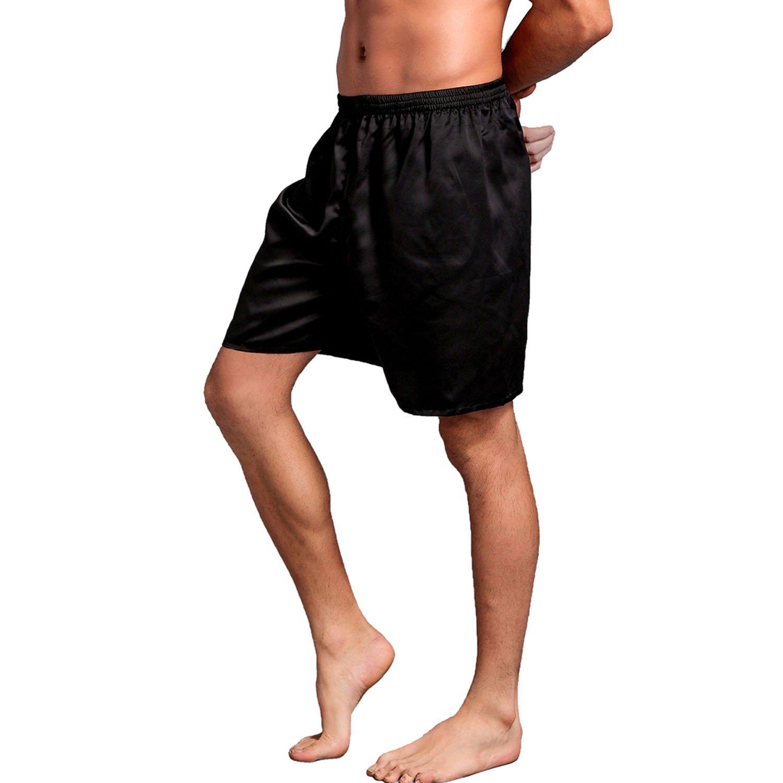 Admireme Mens Satin Boxers Shorts Silk Pajamas Shorts Boxer Sleep Work Travel Underwear M-3XL