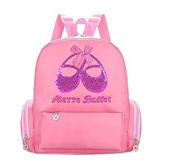 51076ee6326 SHOLIND Kids Girls Pink Princess Dance Ballet Shoes Dress Backpack Lace  Embroidery Letters Bag (Pink