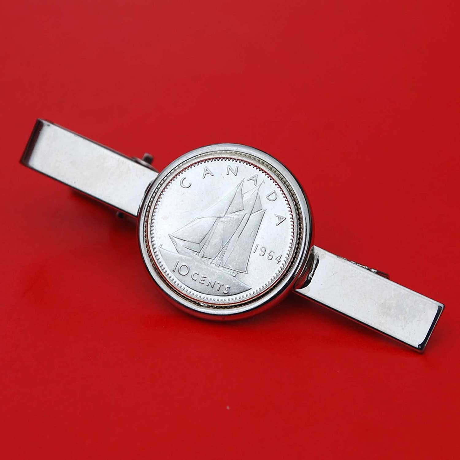 Canada 1964 10 Cents Gem BU Uncirculated 80% Silver Coin Silver Plated Tie Clip Clasp Bar - Bluenose Sailing