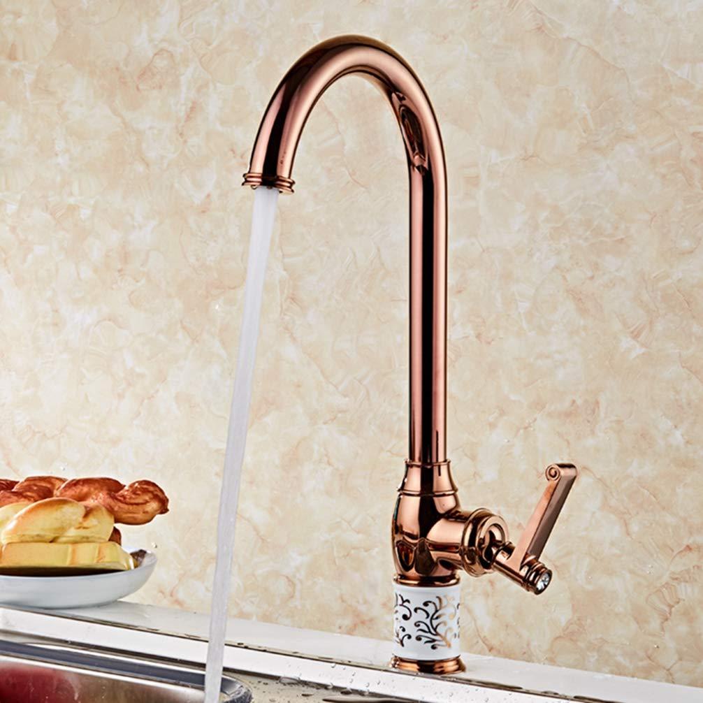 pink gold FZHLR Single Handle gold Kitchen Faucet pink gold Kitchen Mixer Sink Mixer Hot & Cold Kitchen Sink Taps gold Kitchen Tap 360 Degree Swivel,pink gold