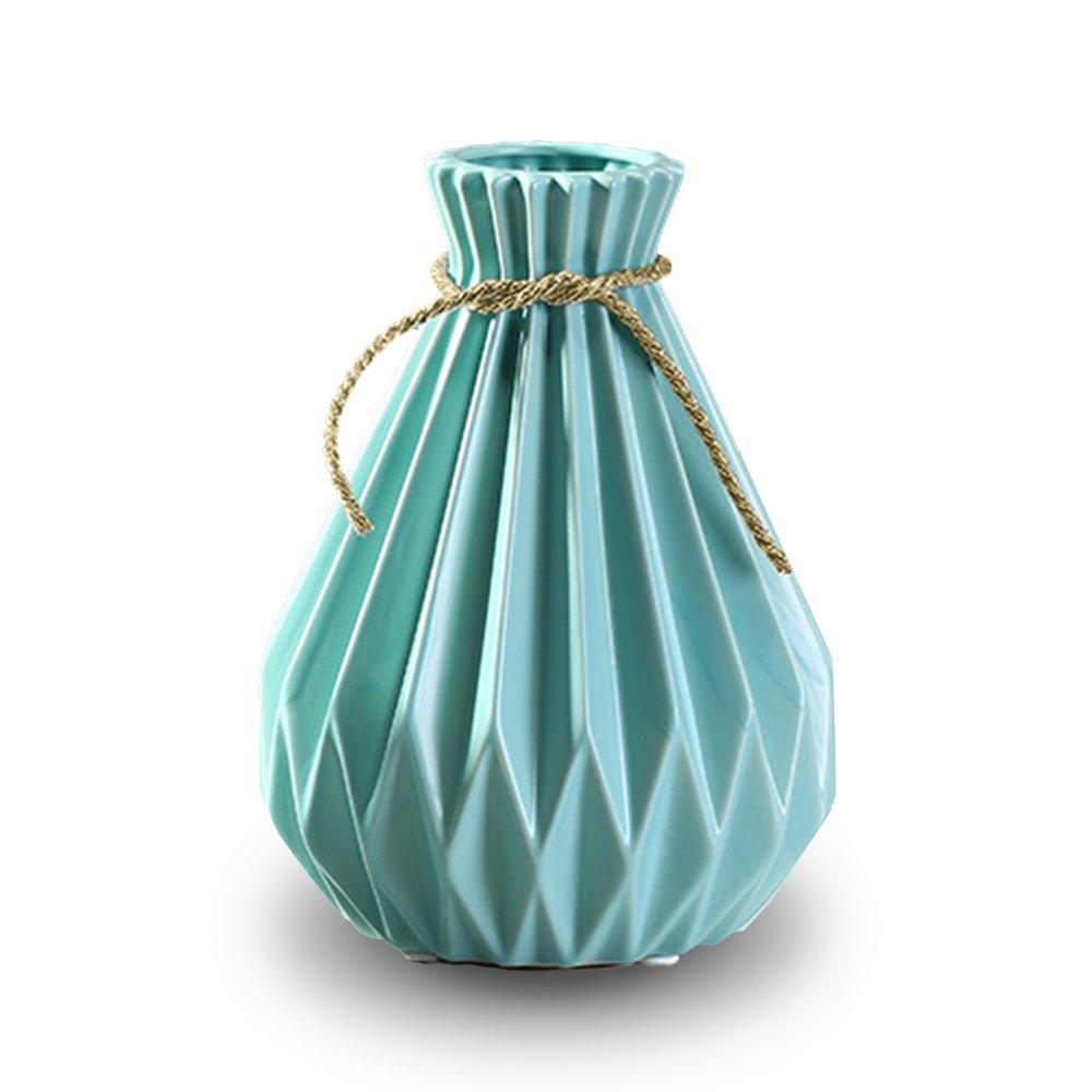 Aimeily Sky Blue Ceramic Flower Vase for Office Home Hotel Party Wedding Decor
