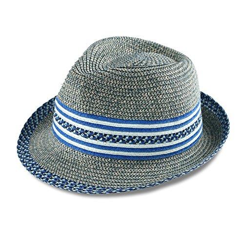 a3d98ea35 Men & Women's Summer Short Brim Straw Fedora Hat (denim)