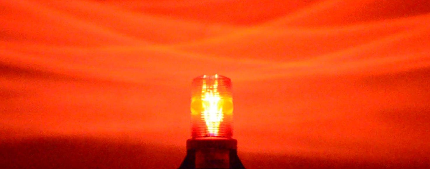 B1LHPFAC RED 85-265V AC 7.5W LED 5D DIRECTIONAL FLASHING BEACON FORKLIFT EMERGENCY WARNING LIGHT STROBE EFFECT 110V 120V 220V 240V