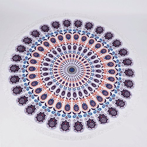 NATURALSHOW Indian Mandala Microfiber Large Round Beach Blanket with Tassels Ultra Soft Super Water Absorbent Multi-Purpose Towel 59 inch across