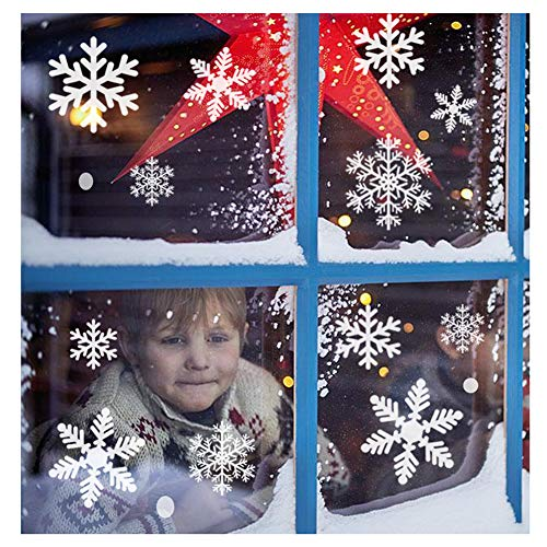 Sunboom Christmas Decorations Snowflake Window Clings Snowflakes Stickers Windows Decals for Kids [150+ Pcs] White Snowflake Ornaments Winter Snow Holiday Decal (5 Sheet)]()
