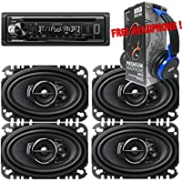 Package - 2 Pairs of Pioneer TS-A4676R 4x6 3-way 200W Car Speakers + Kenwood KDC-BT21 Single-DIN In-Dash Bluetooth CD Receiver + Free EBH700 Headphone