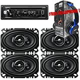 Package - 2 Pairs of Pioneer TS-A4676R 4''x6'' 3-way 200W Car Speakers + Kenwood KDC-BT21 Single-DIN In-Dash Bluetooth CD Receiver + Free EBH700 Headphone