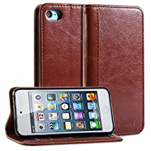 GMYLE(R) Wallet Case Simple for iPod touch 5 - Brown Crazy Horse Pattern PU Leather Slim Protective Folio Wallet Stand Case Cover