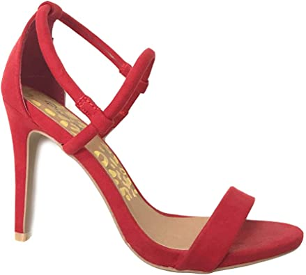 New Women Qupid Crammy-206 Faux Suede Open Toe Strappy Stiletto Sandal