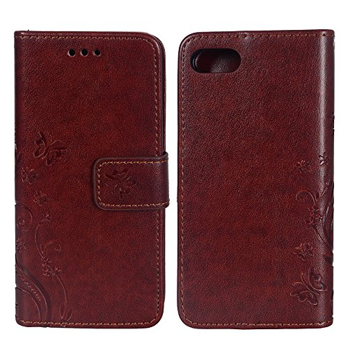 König-Shop Apple iPhone 7 Handy Hülle Tasche Case Cover Wallet Kunstleder Braun