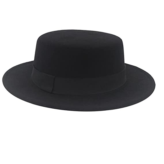 NE Norboe Women s Brim Fedora Wool Flat Top Hat Church Derby Bowknot Cap  Black be43453f1