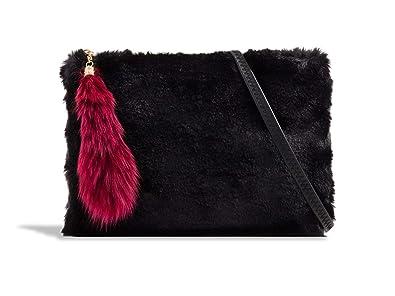e1277404dbd LeahWard Women s Faux Fur Clutch Bag Cross Body Handbag Wedding Night Out  Purse 2333 (Black