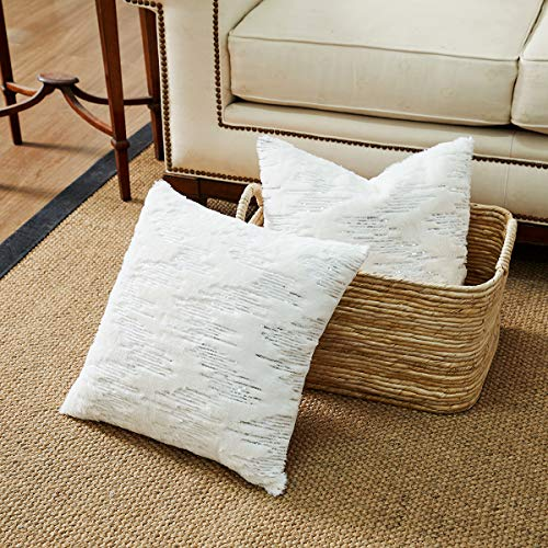 (Throw Pillows Covers 18 x 18,Set of 2 White Fur With Silver Embroider Sequins Soft Throw Pillows for Couch Bed,Accent Home Decorative Square Cushions Cases Shams Pillowcases Farmhouse,45 x 45 CM)