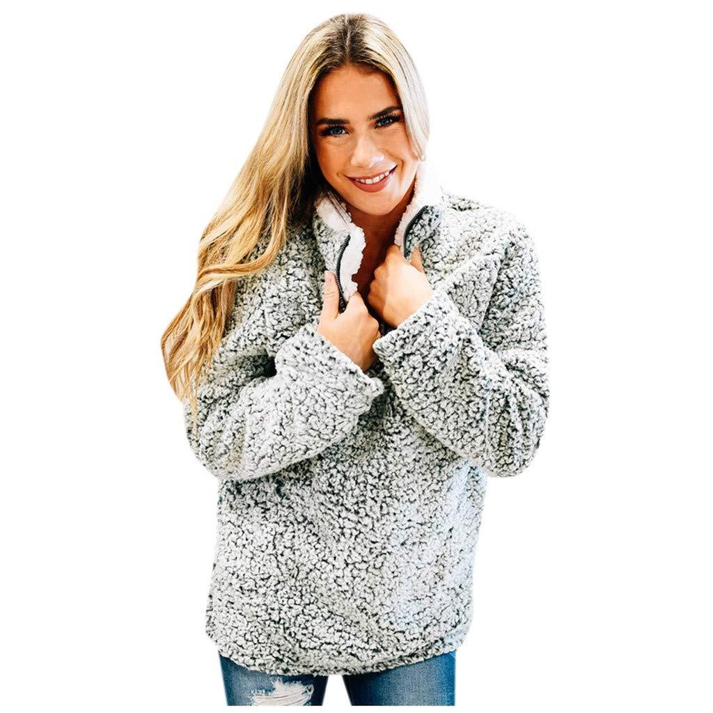 Women Warm Long Sleeve 1/4 Zipper Soft Fleece Pullover Sweatshirt Outwear Coat Jumper Blouse with Pockets by HNTDG by HNTDG