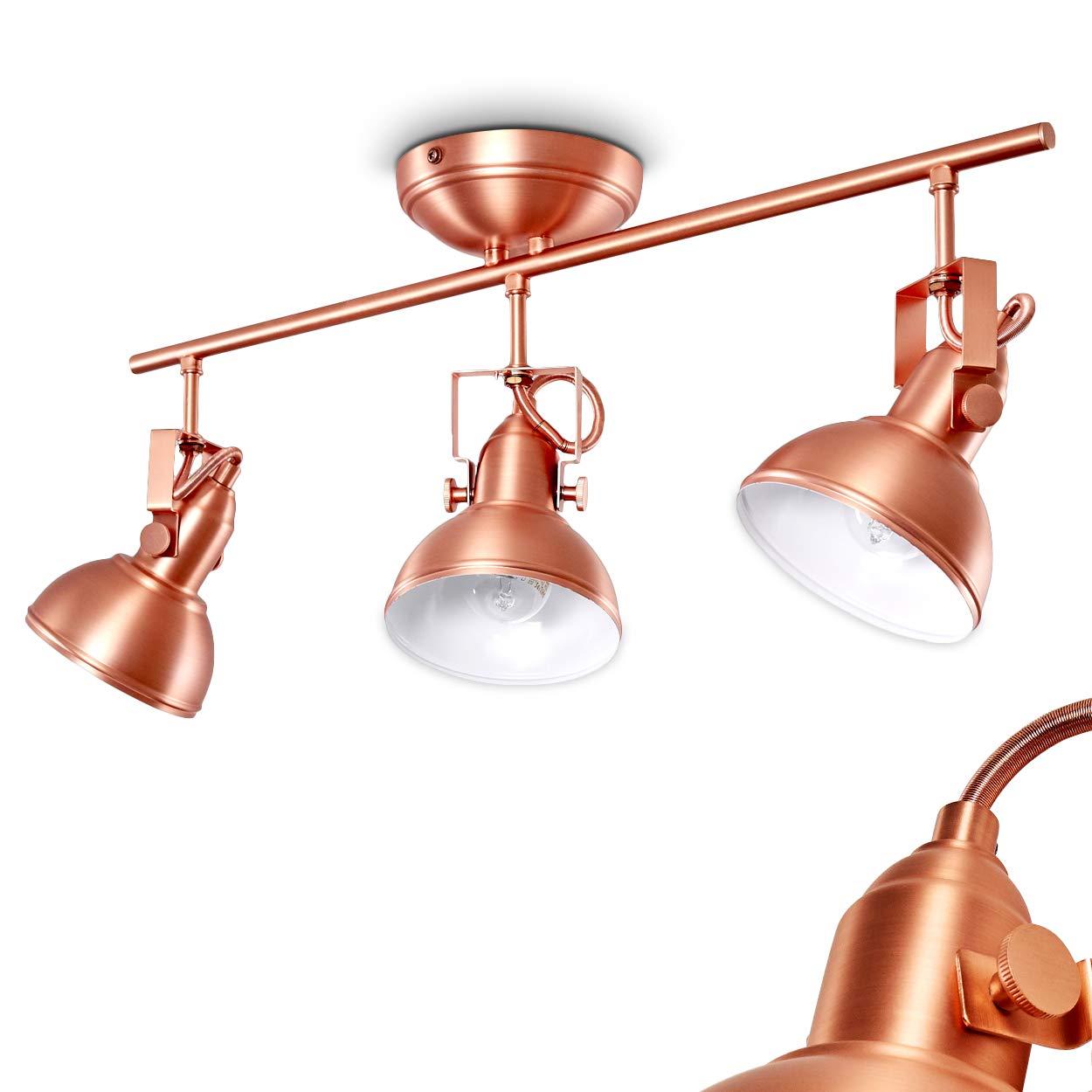 Deckenleuchte Tina, verstellbare Deckenlampe aus Metall in Kupfer Weiß, 3-flammig, Lampenschirm dreh- u. schwenkbar, 3 x E14-Fassung, max. 40 Watt, Spot im Retro-Design, für LED Leuchtmittel geeignet