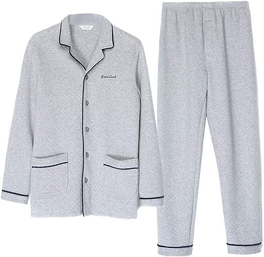 Pijamas Otoño e Invierno Algodón Conjunto de Seda de Manga Larga ...