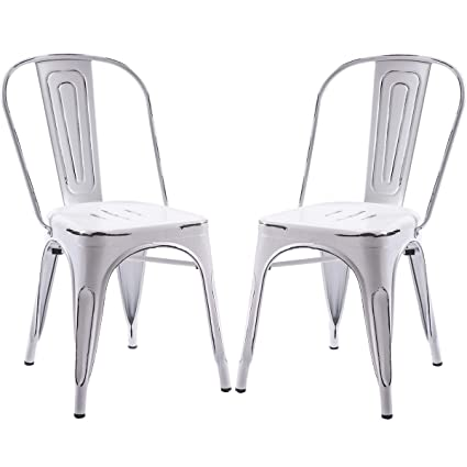 Terrific Merax High Back Steel Stackable Vintage Metal Dining Chair Set Of 2 Antique White Home Remodeling Inspirations Genioncuboardxyz