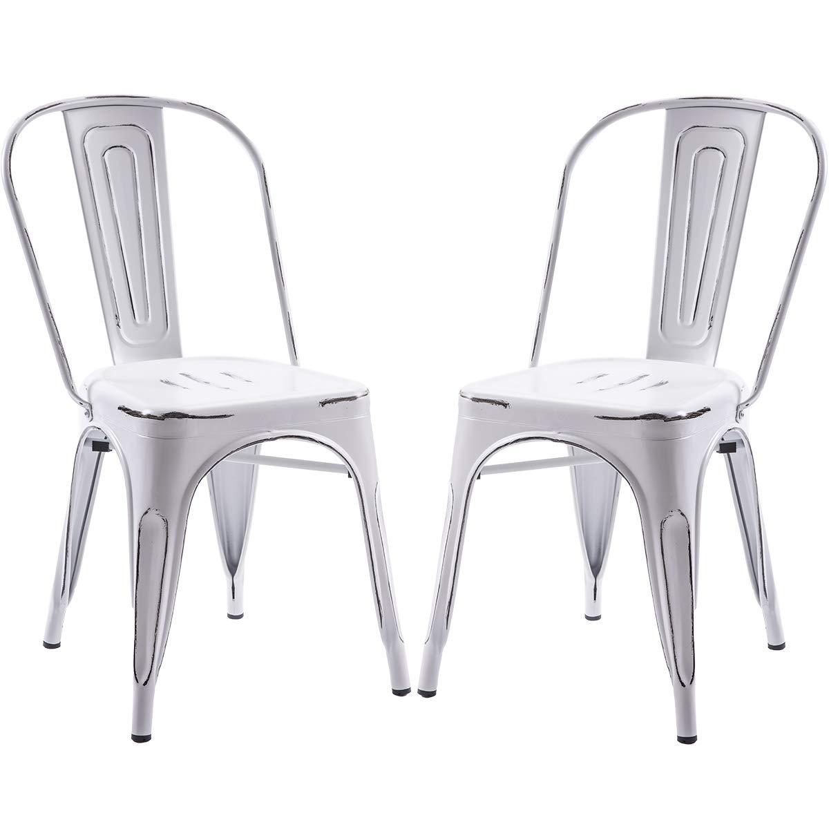 Merax Metal Dining Chair, Antique White
