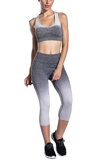 59b234354167bf FelinSoul - Women's Yoga 2 Piece Ombre Seamless Workout Outfits Set - Capri  Leggings & Tank