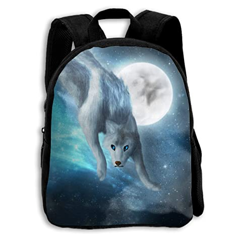 a318bf86b5ac Amazon.com : Ice Wolf Moon Kids Backpack School Bag Lightweight ...