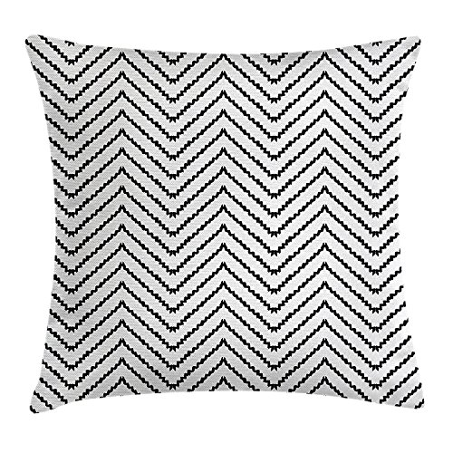 QS3F2S2D1G Modern Decor Throw Pillow Cushion Cover, Geometric Triangle Zig Zag Triggering Lines Minimalist Pattern Decor, Decorative Square Accent Pillow Case, 18 X 18 Inches, Black and White