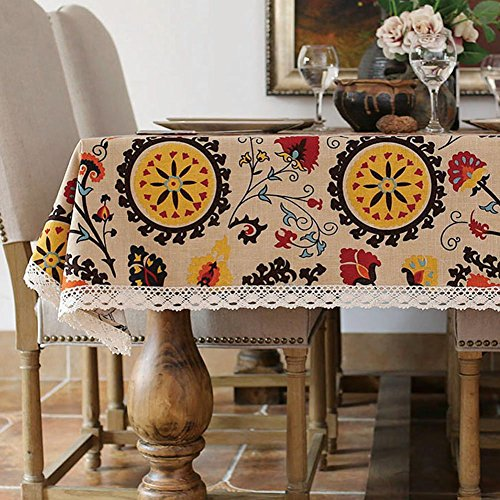 lelehome Antique Sunflowers Floral Tablecloth Durable Cotton Vintage Laciness Linen Embroidered Washable Dinner Picnic Table Cover(55.1X70.9IN) (Embroidered Vintage Linen)