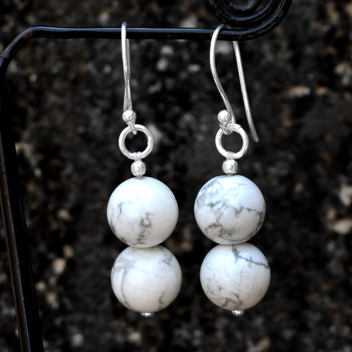 Dangle Earring Jaipur Rajasthan India Handmade Jewelry Manufacturer Beaded 10mm Howlite 2 Stone Set 925 Sterling Silver