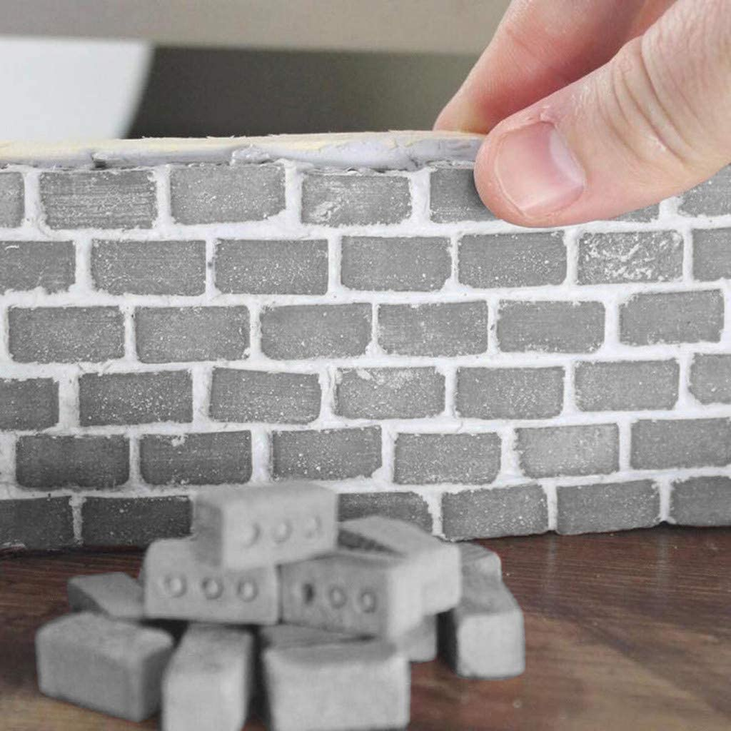 Fan-Ling 2019 Newest Mini Cement Brick and Mortar Set,Let You Build Your Own Tiny Wall Mini Bricks,DIY Toy,Creative Crafts,DIY Mini Craft Landscape Decoration red:25pcs
