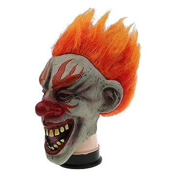MagiDeal Máscara de Látex de Malvado Payaso con Pelo Espeluznante Scary Evil Joker Unisex Adultos Traje