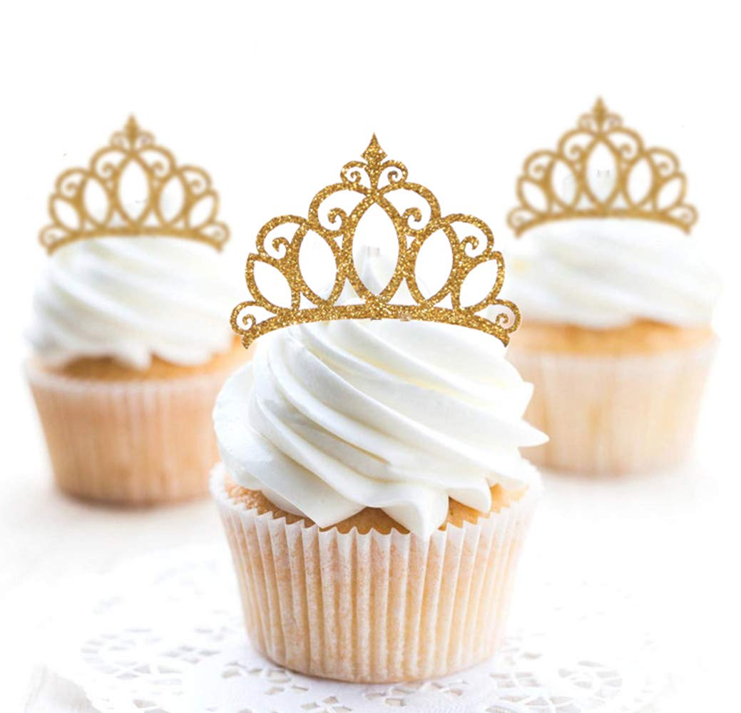 12 GLITTER CROWNS IN BABY PINK Cupcake Pick Toppers Cupcake Flags