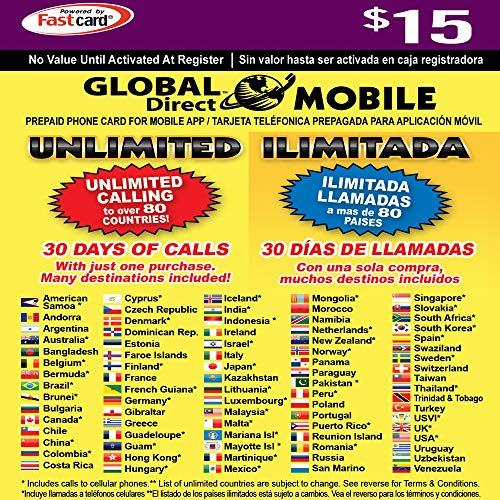 $15 Global Direct Unlimited Phone Calling Card - Get Unlimited International and Domestic Long Distance Calls for 30 Days