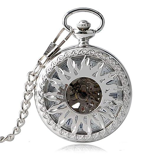 Reloj de bolsillo para hombre, reloj de bolsillo mecánico automático, diseño de flor de sol, regalo moderno para hombres: Amazon.es: Relojes