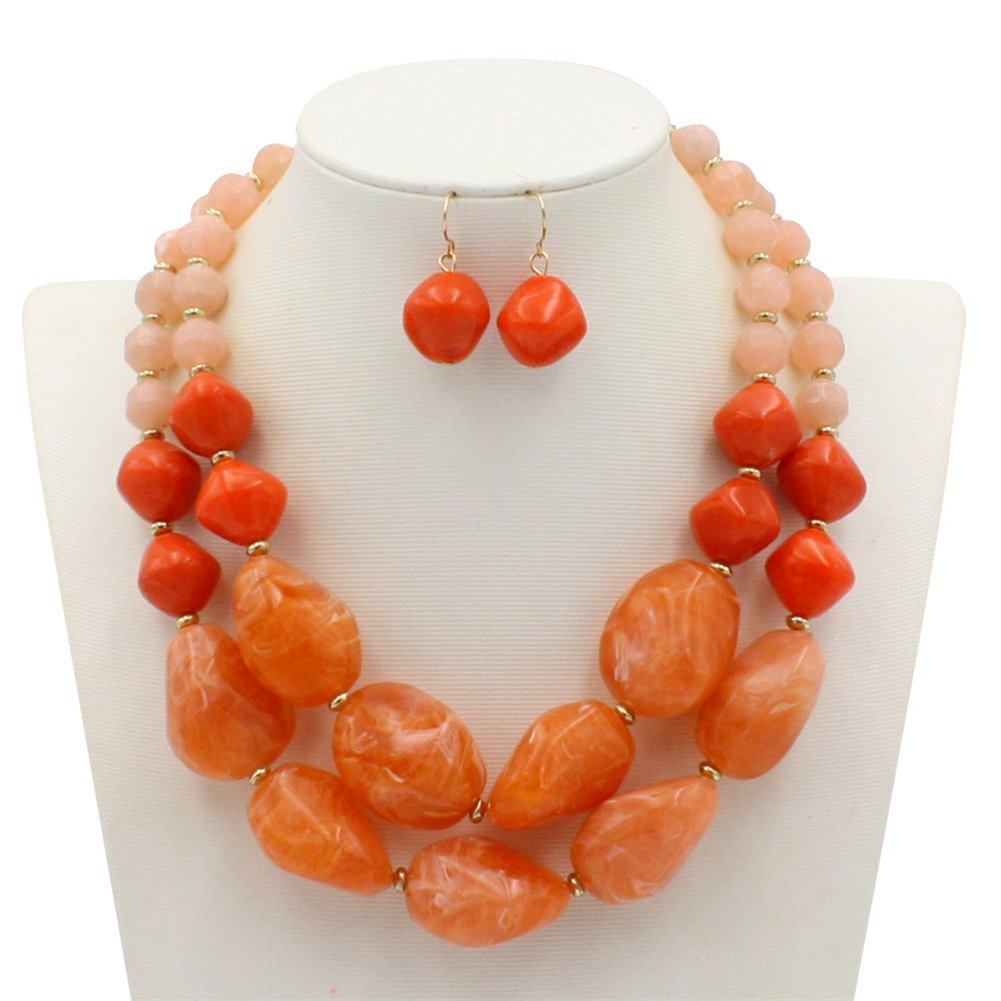 Ufraky Fashion Jelly Color Beads Statement Necklace and Earrings Set for Women Gift (Orange)