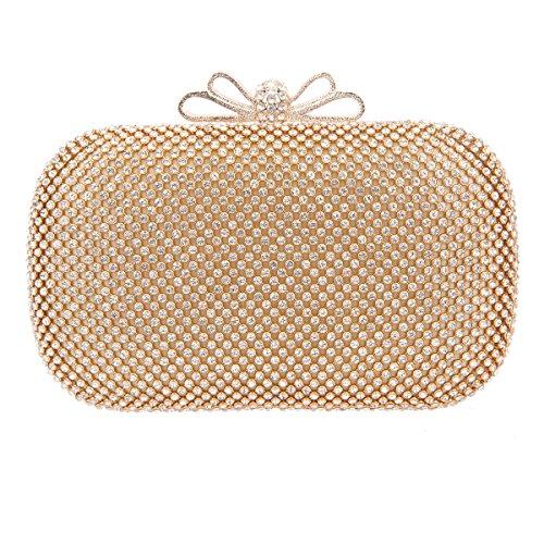Fawziya Bow Clutch Purse Rhinestone Evening Bags And Clutches For Wmen-Gold