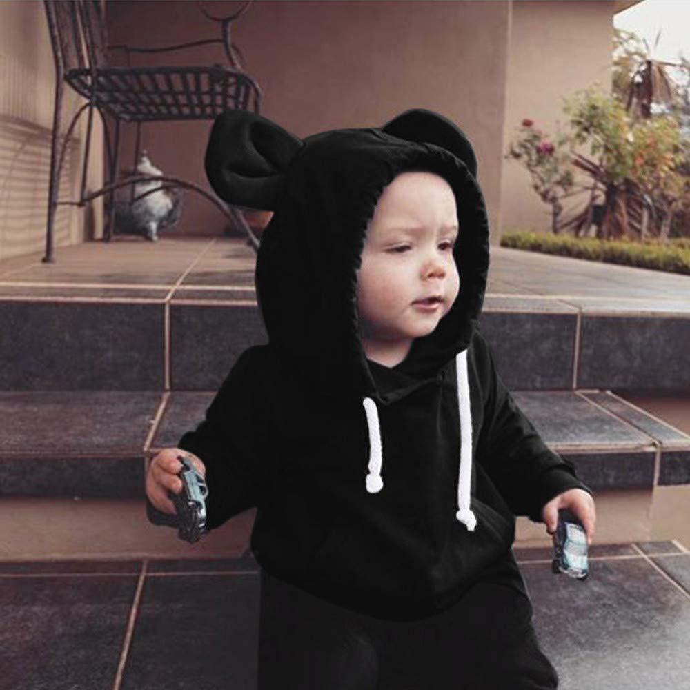 Jimmackey Neonato Unisex Manica Lunga Felpa con Cappuccio 3D Orso Orecchio Pullover Solido Cime Bambino Vestiti