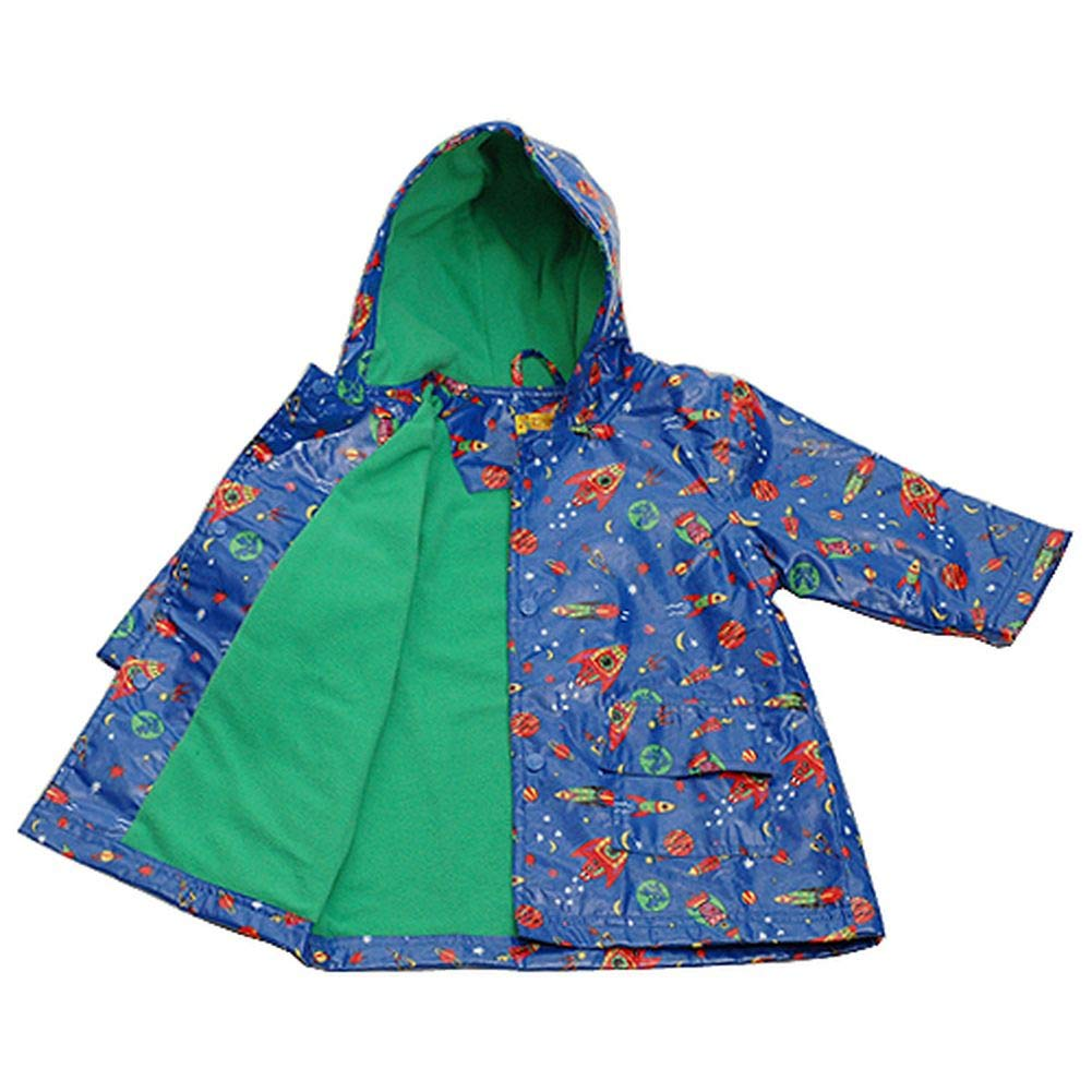 IM Link Pluie Pluie Boys Size 7-8 Blue Outerspace Lined Raincoat Outerwear