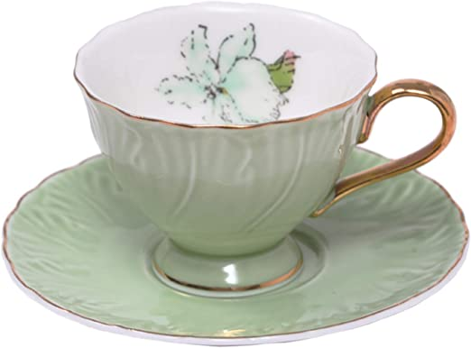 P/úrpura ufengke 4oz Juego de Tazas de Caf/é Juego de 6 Tazas de T/é de Cer/ámica y Platillo Juegos de T/é de Porcelana