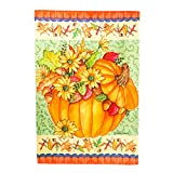 Autumn Leaves Pumpkin Bucket Decorative House Flag