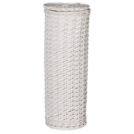 Natural Woven Wicker Toilet Roll Storage Basket - Freestanding White Toilet Paper Basket with Lid -  sc 1 st  Amazon UK & Natural Woven Wicker Toilet Roll Storage Basket - Freestanding White ...