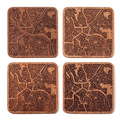 Pittsburgh Map Coaster by O3 Design Studio, Set Of 4, Sapele Wooden Coaster With City Map, -