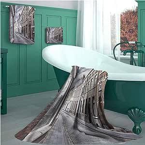Wanderlust Juego de toallas de baño, diseño de calle antigua en España, 1 toalla de baño, 2 toallas de mano para baño, hotel, cocina, Color-08, 3 Piece Set - M(1 Bath, 1