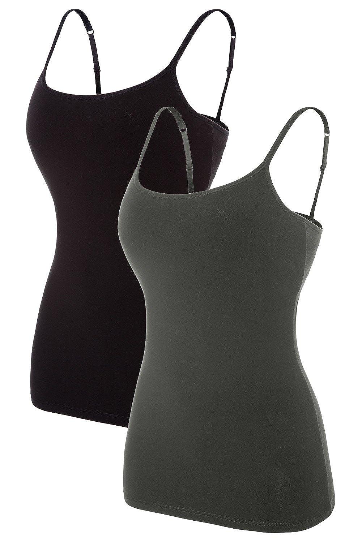 Vegatos Women's Basic Camis Cotton Camisole Shelf Bra Spaghetti Straps Tank Tops Pack of 2