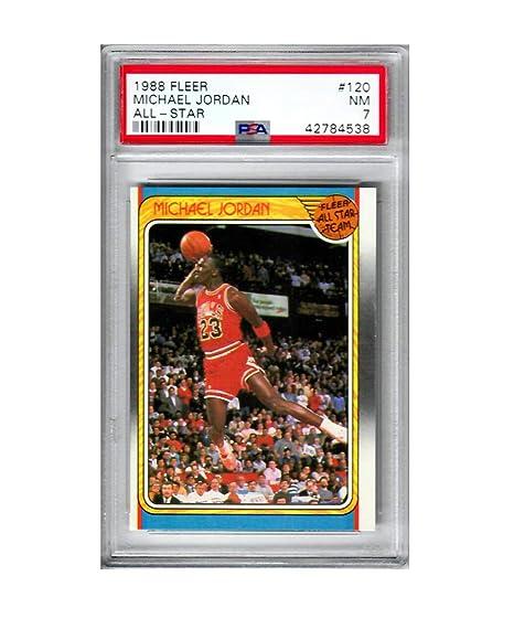 db589924018 Amazon.com : 1988 Fleer Michael Jordan Chicago Bulls All Star #120 PSA 7  Unique Basketball NBA Highly Collectible Card Vintage : Sports & Outdoors