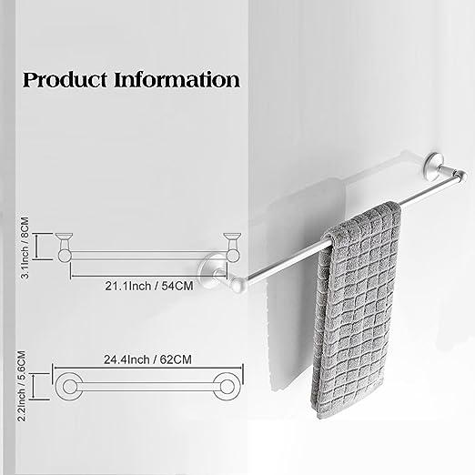 Rabbitgoo® Toallero Aluminio Toallero Inoxidable Barra de Toallas Toallero Plata Colgador de Toallas de Metal Toallero Individual para Los Cuartos de Baño, ...